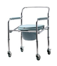 Commode Chair - Plastic Seat with Bucket and Wheels