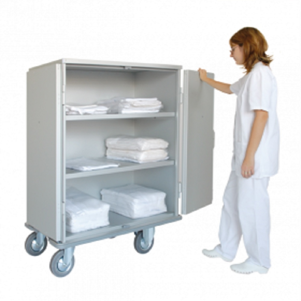 Clean Linen Trolley Closed 2 Panels Atallah Hospital