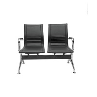 Waiting Area Bench - Chrome 2 seats / Full Leather