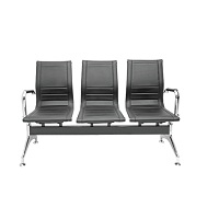 Waiting Area Bench - Chrome 3 seats / Full Leather