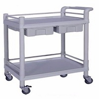 Medication Trolley - 65W 2 Drawers/ 1 Row Plastic